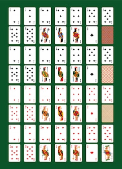 Playing-card vector playing cards for poker in casino illustration set of players gambling game signs king queen and jack isolated