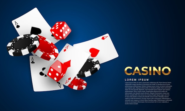 Playing card. winning poker hand casino chips flying realistic tokens for gambling, cash for roulette or poker,