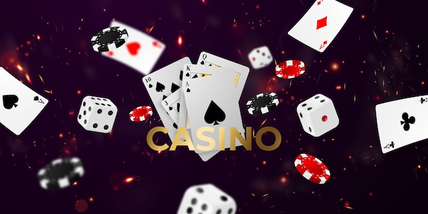 Playing card. winning poker hand casino chips flying