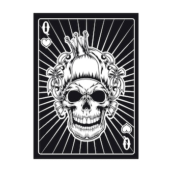 Playing card with aggressive skull of queen. hearts