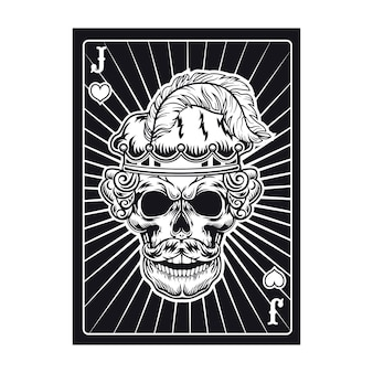 Playing card with angry jack skull. hearts, feather
