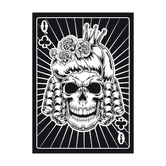 Playing card with angry queen skull. club