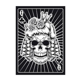 怒っている女王の頭蓋骨とトランプ。クラブ