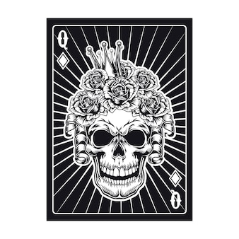 Playing card with black queen skull. diamond