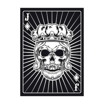 Playing card with jack skull. diamond