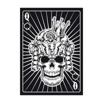 Playing card with queen skull in wig. spades