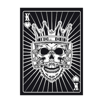 Playing card with royal skull. black king