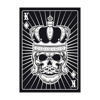 Playing card with skull. black king