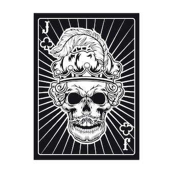 Playing card with skull of jack in crown with feather. club, royal hat