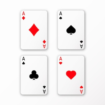 Playing cards ace set vector casino card 3d with shadows