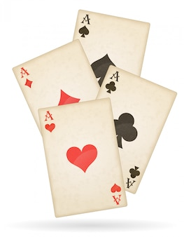 Playing cards aces of different suits old retro vector illustration