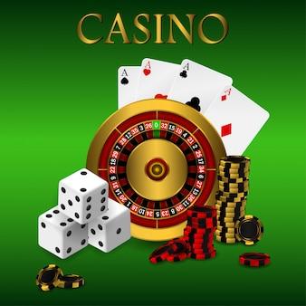 Игральные карты и покерные фишки казино с широким баннером. концепция рулетки казино на белой предпосылке. покер казино иллюстрации.