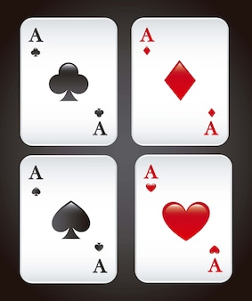 Playing cards over black background vector illustration