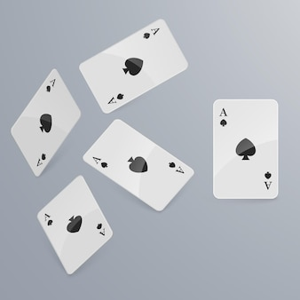 Playing cards falling on light background. isometric