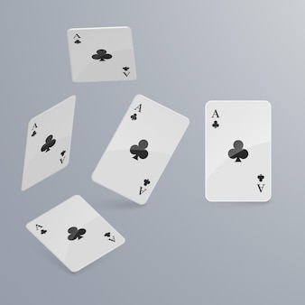 Playing cards falling on light background. Premium Vector