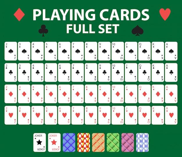 Игральные карты полная колода для покера, блэк джек. коллекция с джокером и спинками. на зеленом фоне. иллюстрации.