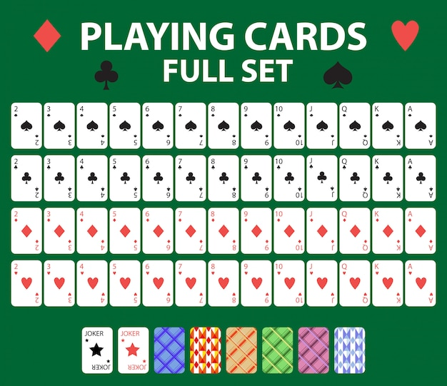 Playing cards full deck for poker, black jack. collection with a joker and backs.  on a green background.  illustration.