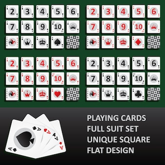 Playing cards, full suit set