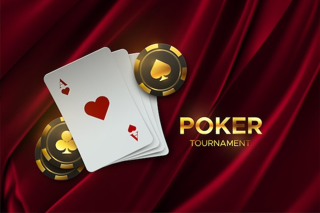 Playing cards and gambling chips on fabric background