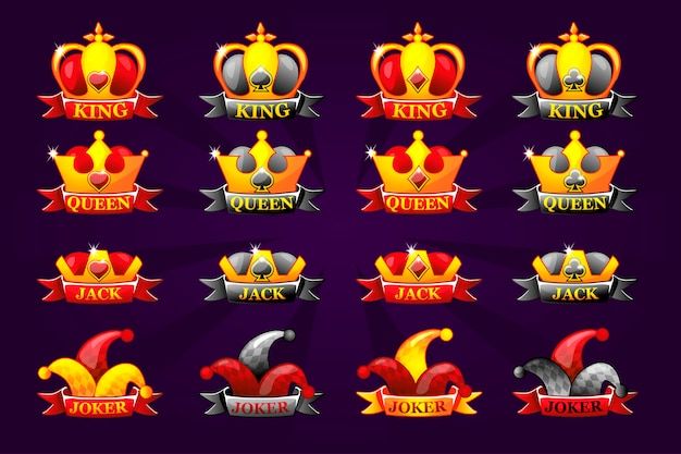 Playing cards icons with crown and ribbon. poker symbols for casino and gui graphic. king, queen, jack, ace and joker