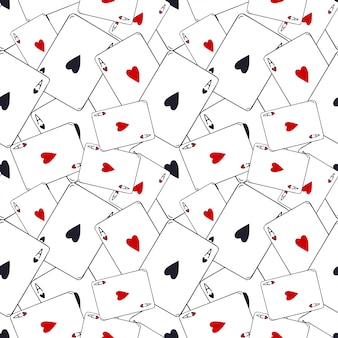 Playing cards pattern. ace of hearts seamless. card game pattern. modern pattern decoration.