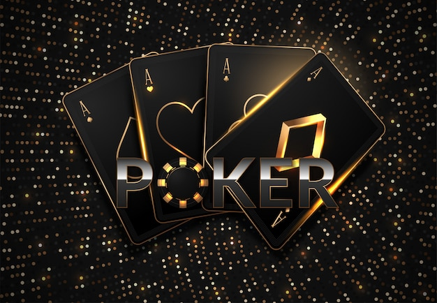 Playing cards and poker chips casino concept on dark