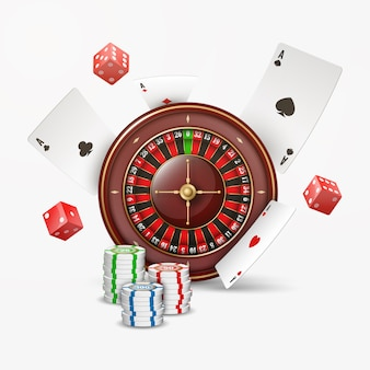 Playing cards and poker chips fly casino with blurred elements. casino roulette  on white .  illustration.
