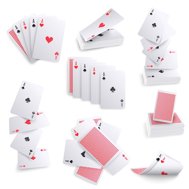 Playing cards realistic sets