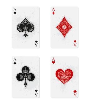 Играя в карты. набор из четырех тузов в винтажном стиле.