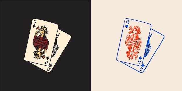 Playing cards in vintage doodle style spades queen hand drawn engraved doodle sketch vector