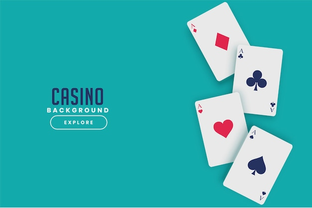 Playing casino cards on turquoise background