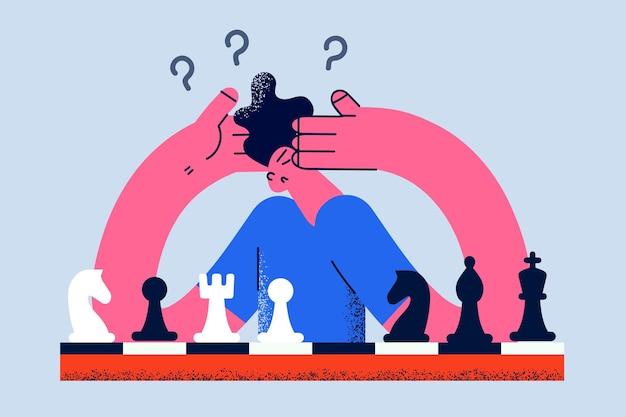 Игра в шахматы и понятие активности мозга. молодой разочарованный думающий человек сидит, думая о шахматной стратегии во время игры, векторная иллюстрация