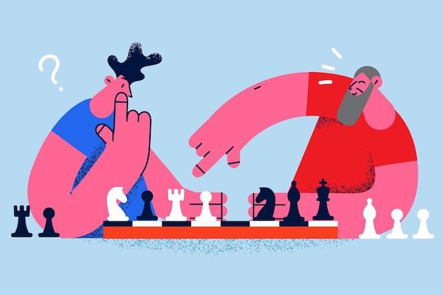 Игра в шахматы и концепция конкурса. молодые люди сидят и играют в шахматы, думая о шахматной стратегии во время игры векторная иллюстрация