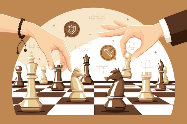 Playing chess games illustration