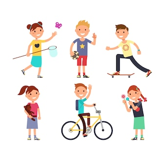 Playing children with toys. happy kids in playground vector set