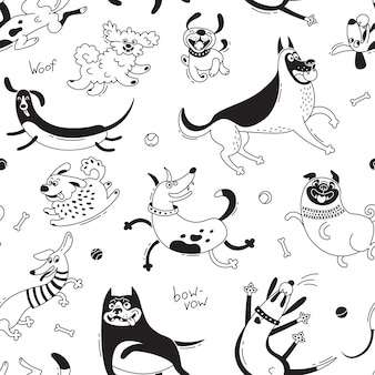 Playing dogs seamless pattern. funny lap-dog, happy pug, mongrels and other breeds.
