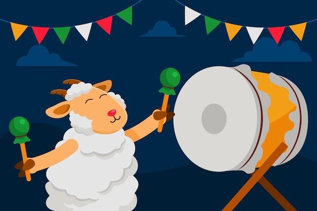 Ночные игры на барабанах в честь празднования дня адха.