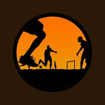 サッカーのイラストを再生する