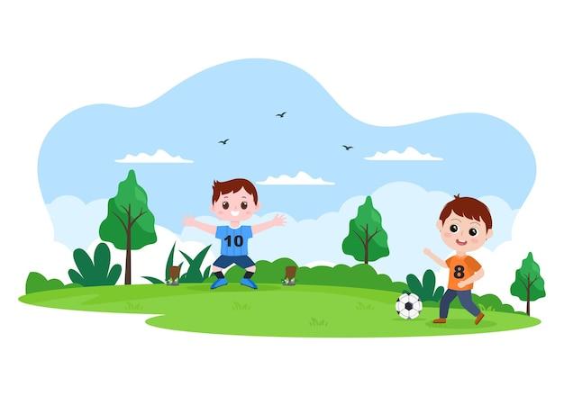 男の子と一緒にサッカーをするサッカーウェアを着るスポーツユニフォームを蹴る、握る、守る、運ぶ、野外で攻撃するなどのさまざまな動き。ベクトルイラスト