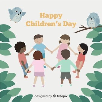 Playing friends childrens day background
