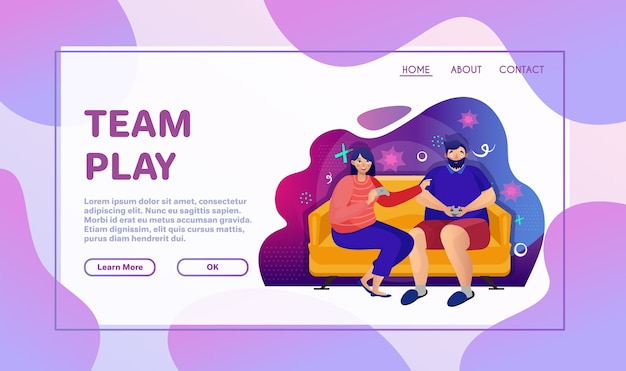 Playing games flat vector illustration