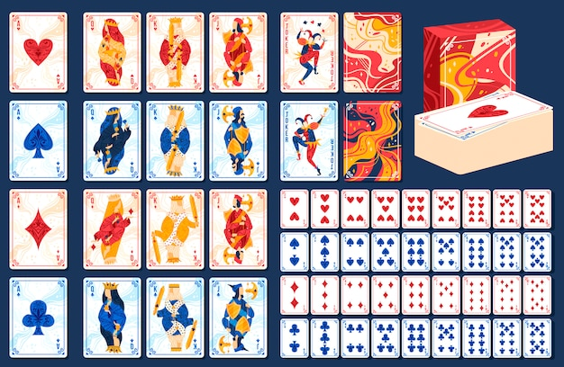 Playing gaming cards vector illustration set.