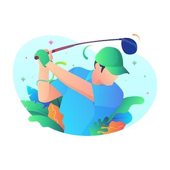 Playing golf,  illustration concept