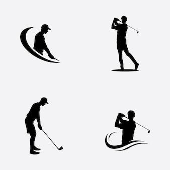 Playing golf pose vector illustration symbol