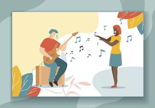 Playing guitar hobby and singing flat illustration