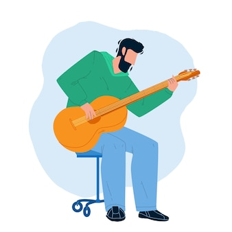 Playing guitar musician instrument boy vector. young man acoustic guitarist sitting on chair and playing guitar. character artist performing music, leisure active time flat cartoon illustration