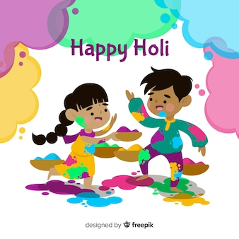 Playing kids holi background