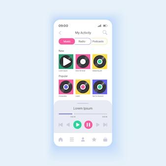 音楽アルバムやプレイリストの再生スマートフォンインターフェイスベクトルテンプレート。ロスレスオーディオをお楽しみください。モバイルアプリのページデザインレイアウト。リスニング品質のストリーム画面。アプリケーションのフラットui。電話ディスプレイ