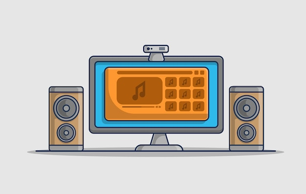 Playing music on computer illustration icon