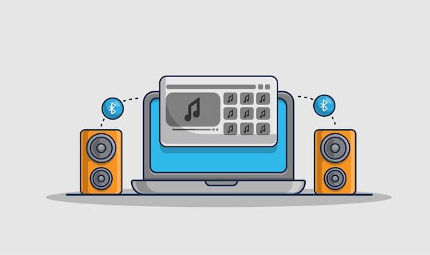 Воспроизведение музыки на значке иллюстрации ноутбука